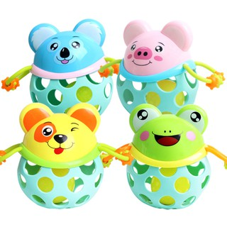 Hand Grasping Hole Bell Ring Ball Cute Animal Teether Rattle Toys for Kids