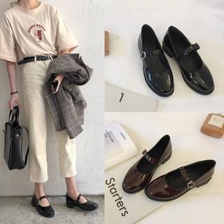 Giày da bóng nữ sinh phong cách vintage 902, giày da gingham cao cấp, giày mary jane bóng