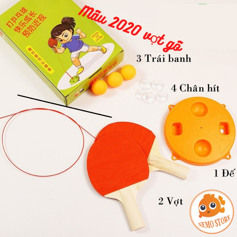 Bộ bóng bàn phản xạ cho bé vợt gỗ free tab - đồ chơi thể thao lắc lư tập luyện phản xạ tốt trẻ em