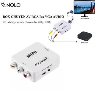 Bộ Chuyển Đổi Tín Hiệu AV RCA ra VGA Audio CVSB Model AV2VGA Hỗ Trợ Phân Giải FullHD 1080P Có Switch 720p và 1080p