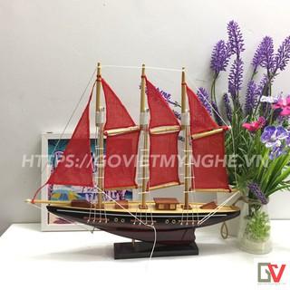 [Không lắp ráp] Mô hình thuyền gỗ trang trí nhà cửa - Thuyền gỗ Atlantic của Anh - Dài 32cm - Buồm đỏ thumbnail