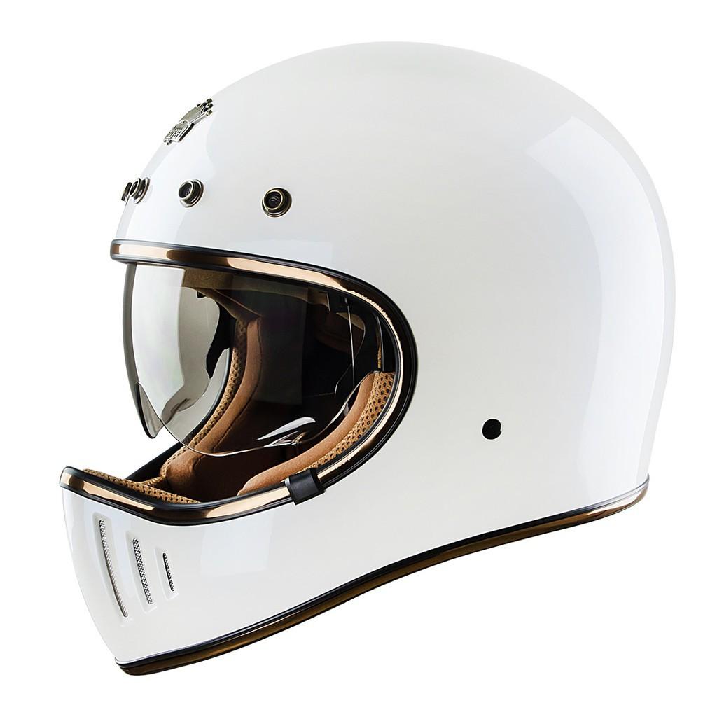 [CRC Helmet]Mũ bảo hiểm fullface phong cách Vintage    M141K trắng bóng
