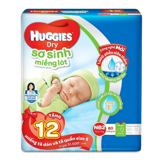 Miếng lót Huggies Newborn 2 NB2-60 tặng 12 tã dán và quần size S