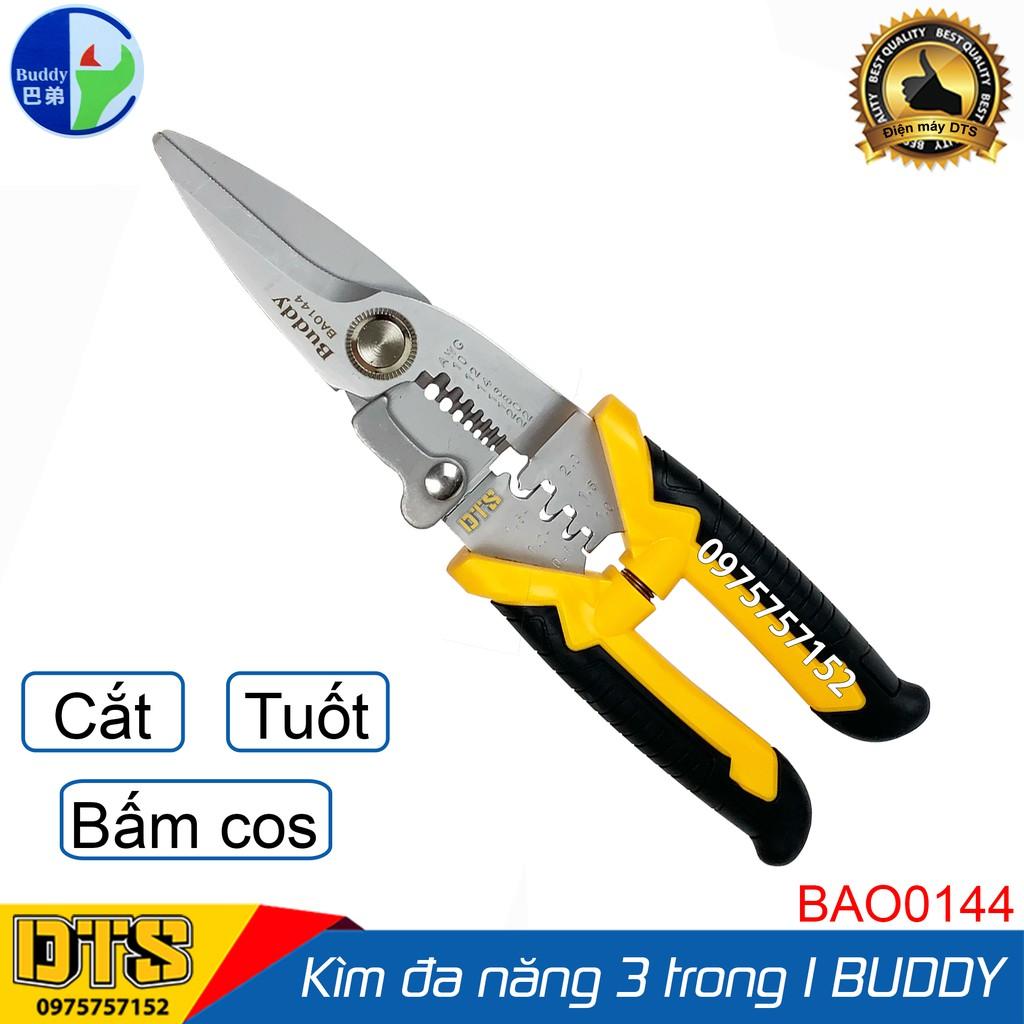 Kìm cắt dây đa năng cao cấp Nhật Bản 3 trong 1 Buddy BA0144 8inch/200mm (Cắt cáp-Tuốt dây-Bấm cos) - Standard JAPAN