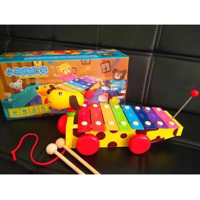 Đàn 8 âm kết hợp xe chó kéo – Đồ chơi gỗ