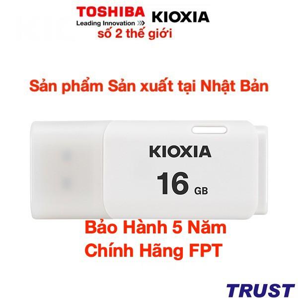 USB 16GB Kioxia (Toshiba) - Sản xuất tại Nhật Bản -U202-16GB- Bảo Hành 5 Năm- Chính Hãng FPT