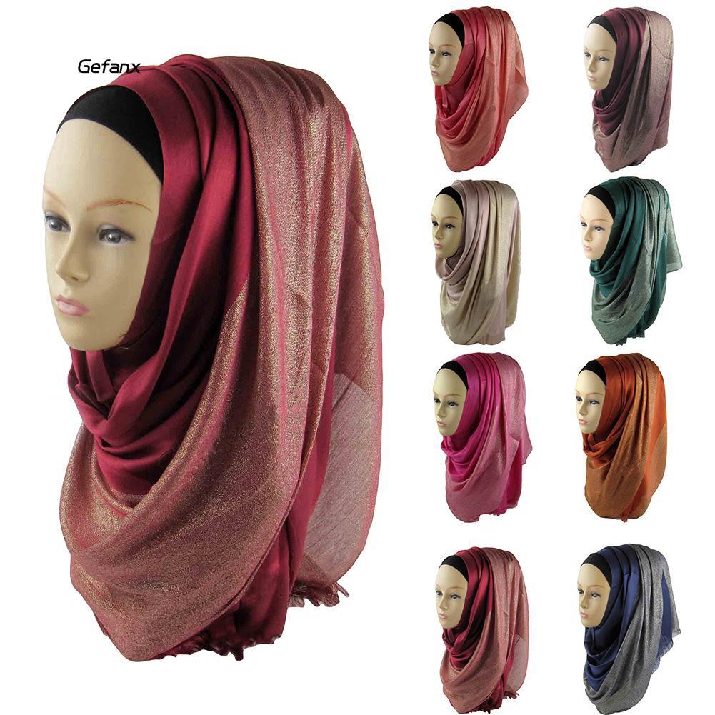 GEFX_Fashion Women Muslim Soft Hijab Wrap Islamic Shawl Scarf Cap Head Cover Gift