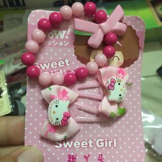 Se t 2 cặp tóc và vòng tay Kitty cho bé gái thumbnail