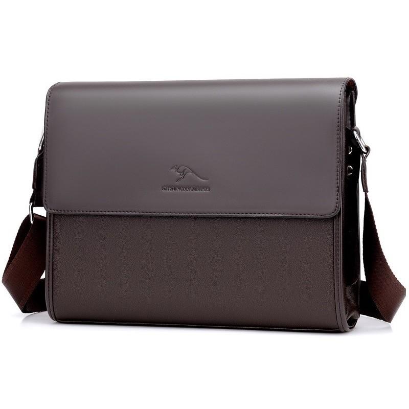 Túi đeo chéo cặp da công sở đựng laptop T74 33x25x7cm (Nâu-Đen)