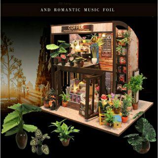 Mô hình nhà búp bê I-DIY COFFEE HOUSE cây xanh phong cách Hanabusa (+ mica + keo dán)