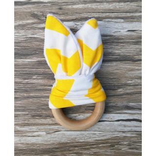 Teething Fabric and Wood Rings Baby Teething Aid Handmade Ring Teether Toy
