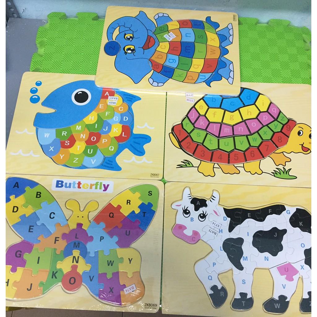 Combo 5 bảng đồ chơi gỗ ghép hình con vật cho bé Đồ chơi gỗ cho bé