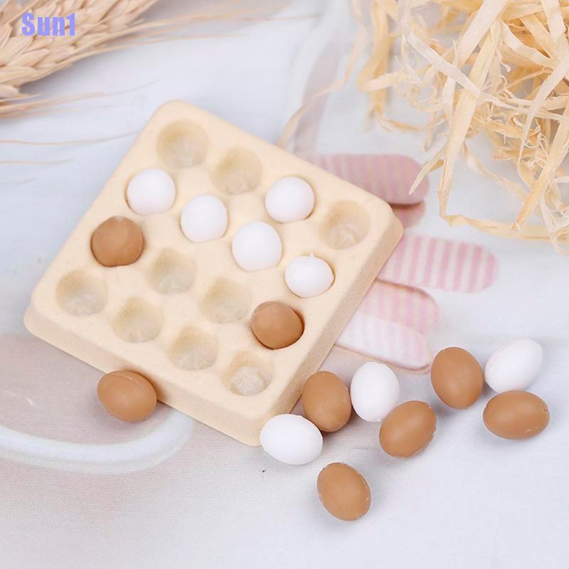 Sun1> 1:12 Dollhouse Miniature Egg Carton With 16 Pcs Eggs Dollhouses