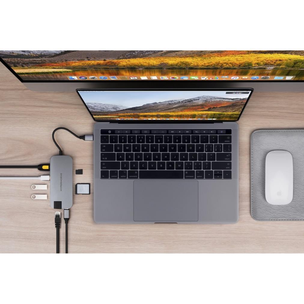 Cổng Chuyển Hyperdrive Slim 8in1 USB-C Hub Cho Macbook,PC,Devices Chính Hãng