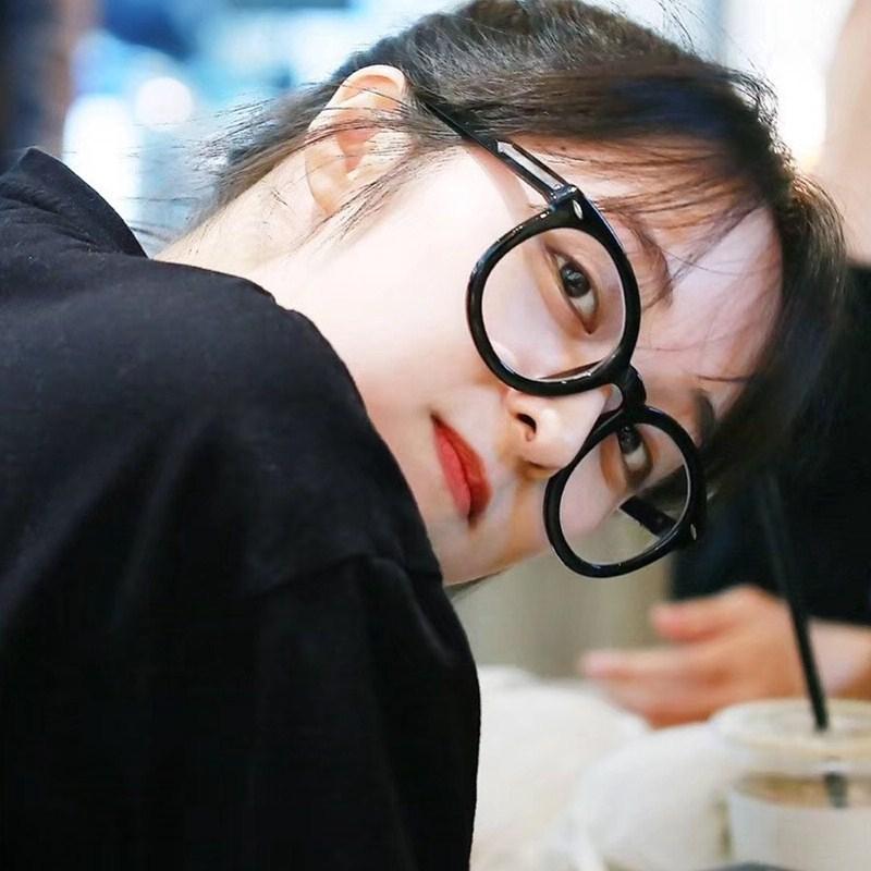 Mắt Kính Gọng Tròn Chống Bức Xạ Phong Cách Hàn Quốc Cho Nữ