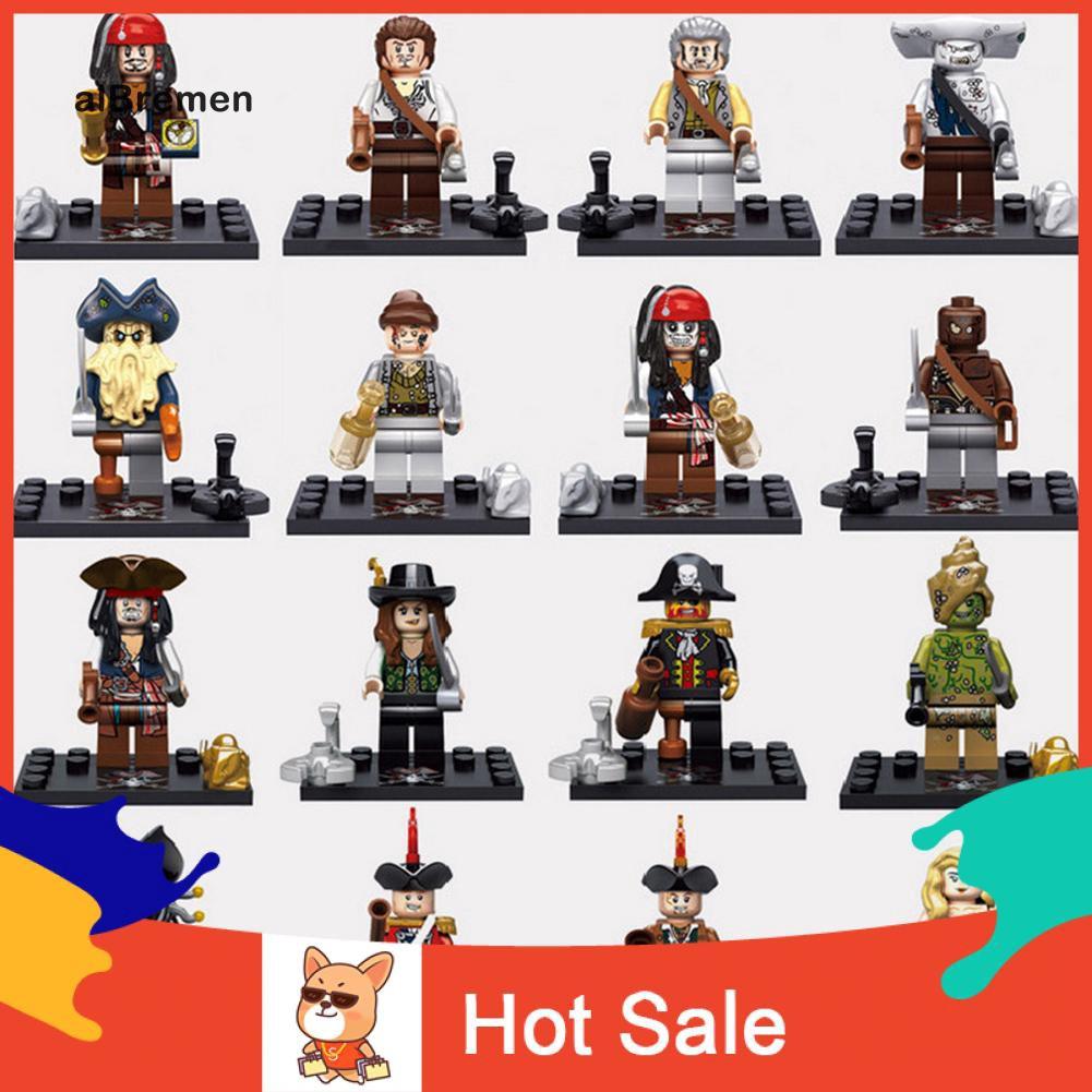 Set 8 khối đồ chơi lắp ghép hình cướp biển Caribbean mini dành cho bé
