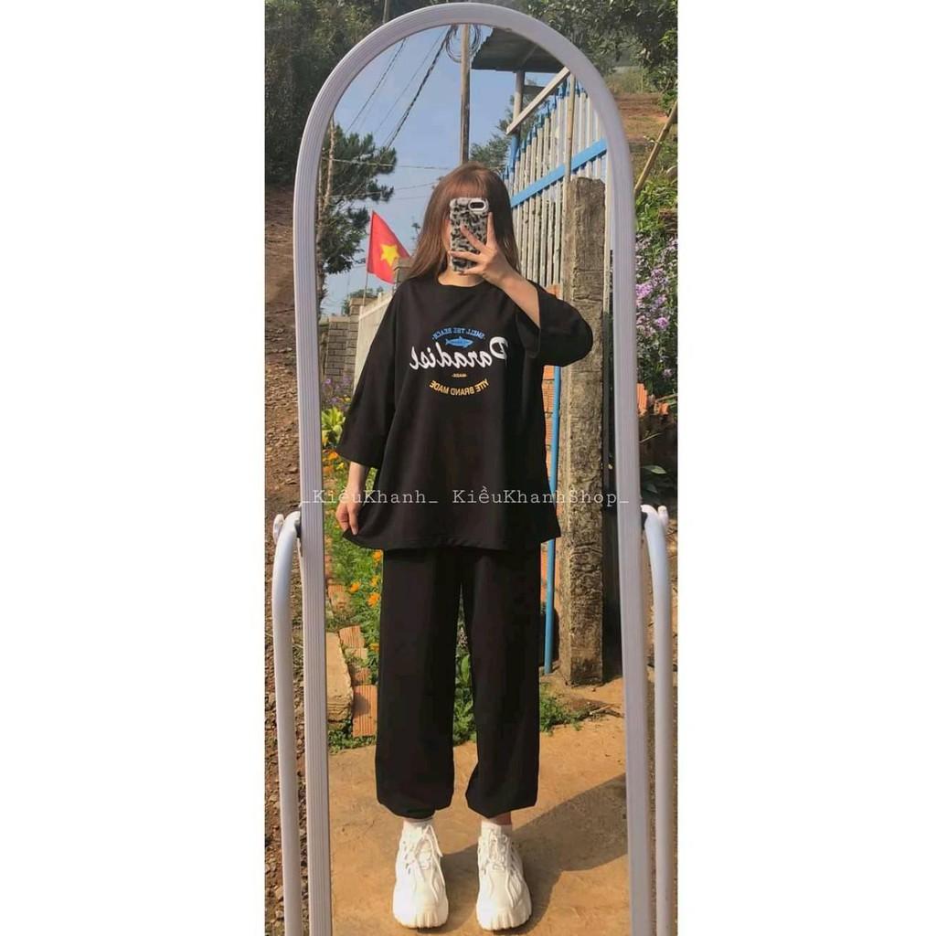 Mặc gì đẹp: Xinh xinh với Sét Bộ Đồ Nữ Mặc Đi Chơi, Dự Tiệc Mùa Hè, Áo Phông Cotton Mát Mịn Kèm Quần Thun Cát Phong Cách Hàn Quốc