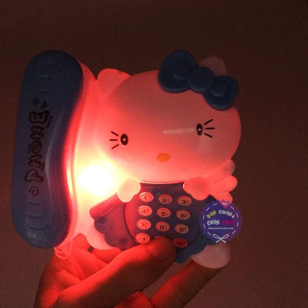Đồ chơi điện thoại bàn mèo Kitty dùng pin có đèn nhạc - KhaDiTOYS - Đồ chơi phát nhạc