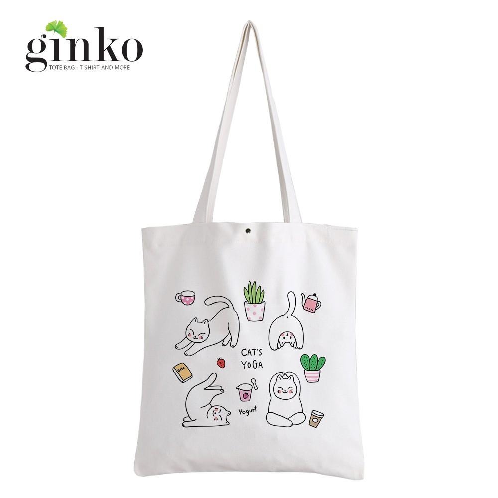 Túi Vải Tote GINKO Kiểu Basic Nút Bấm In Hình Yoga Cats G190