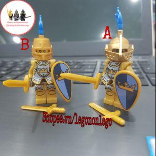 Minifigure lính trung cổ vàng gold 9802