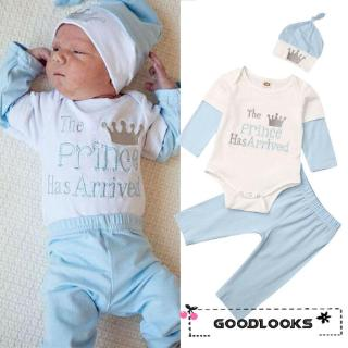 HGL♪Newborn Infant Baby Boy Girl Clothes Romper Pants Trousers Hat Cotton Outfit