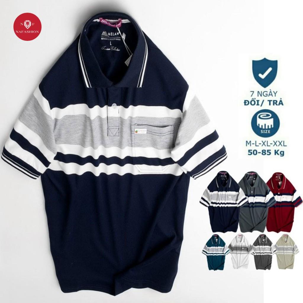 Áo Polo nam trung niên phối cổ bẻ có túi vải cá sấu Cotton xuất xịn chuẩn form rộng  thanh lịch- áo thun nam tặng Ba
