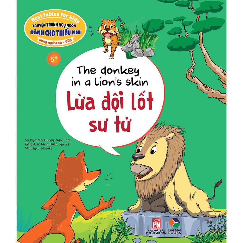 Sách - Truyện tranh ngụ ngôn dành cho thiếu nhi song ngữ anh việt, lừa đội lốt sư tử