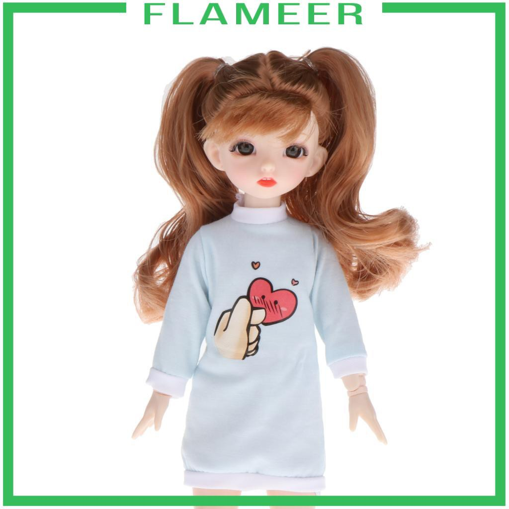 [FLAMEER] 30cm 16 Jointed BJD Girl Doll 3D Eyes Smooth Hair Girl Role Play Toy Gift