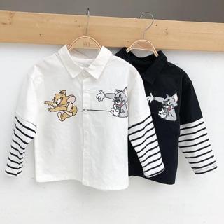 Áo sơ mi cổ vest phối tay thun kẻ lạ mắt cho bé trai, chất liệu thô mát ShiniShop thumbnail