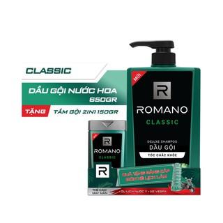 Dầu gội Romano Classic cổ điển lịch lãm tóc chắc khỏe 650gr- Tặng tắm gội 2in1 Romano Classic 150g