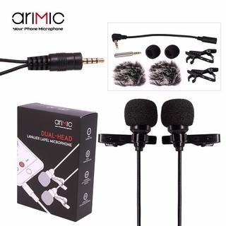 Micro cài áo 2 đầu mic cho điện thoại và máy ảnh AriMic Clip-on Dual Lavalier