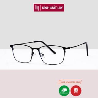 Gọng kính cận kim loại nam nữ Lilyeyewear, thiết kế mắt vuông phù hợp với nhiều khuôn mặt - 9042