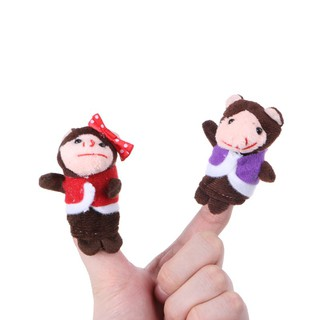 ✿INN✿ 7Pcs Cartoon Animal Monkey Dolls Finger Puppets Set Mini Plush Baby Story Telling Hand Cloth