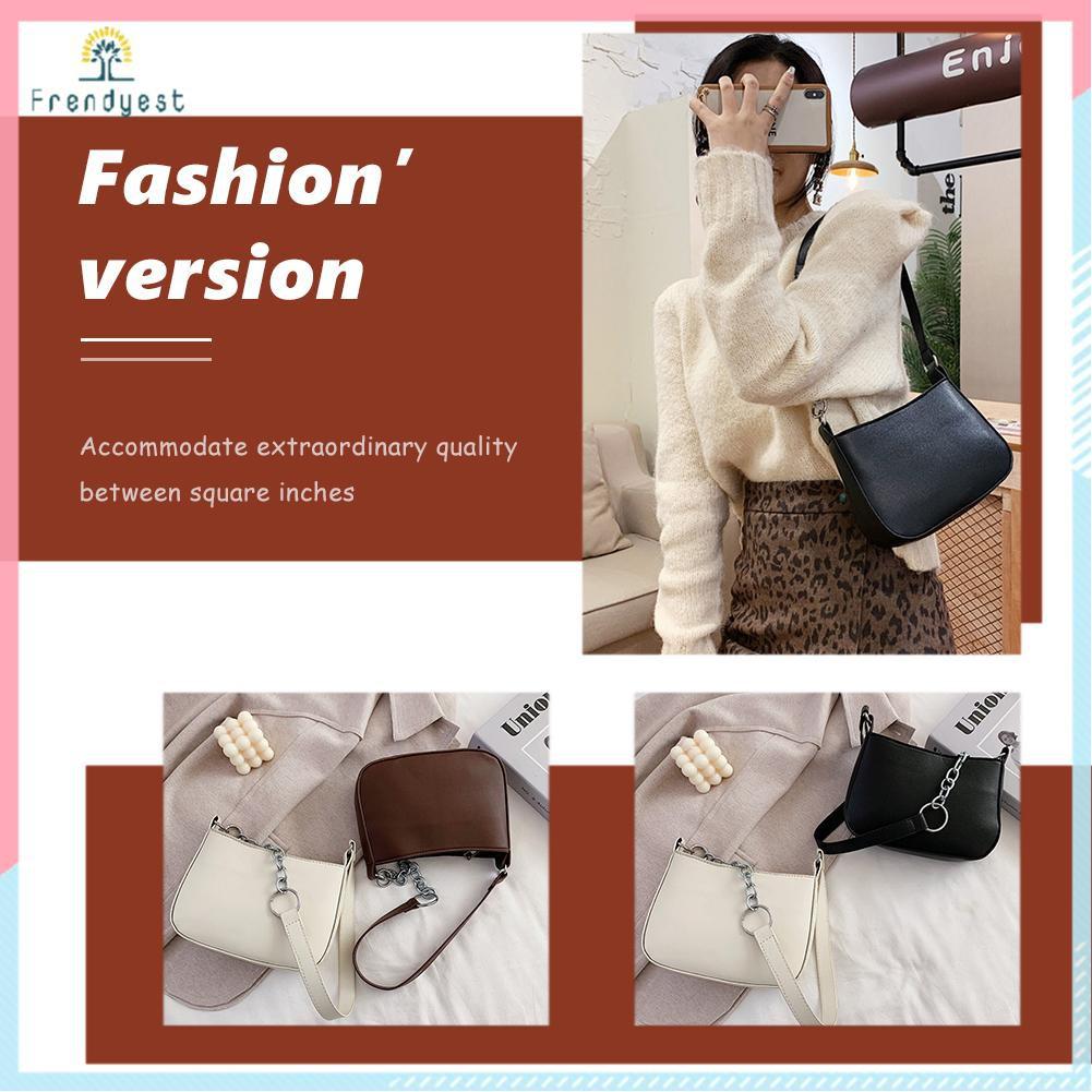 Túi xách nữ đeo vai da PU màu trơn phong cách punk phối dây mắt xích kiểu đường phố cá tính