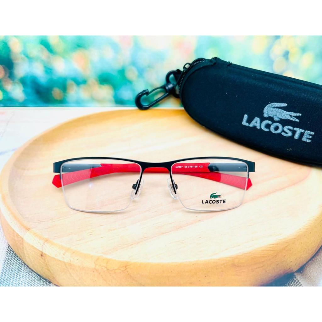 Mắt kính lacoste 2897 đen đỏ phong cách mới cho nam