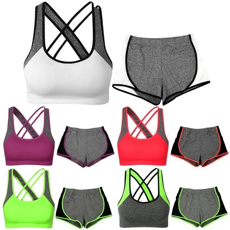 Chất lượng tốt Bộ áo ngực thể thao có mút nâng kèm quần sort thun
