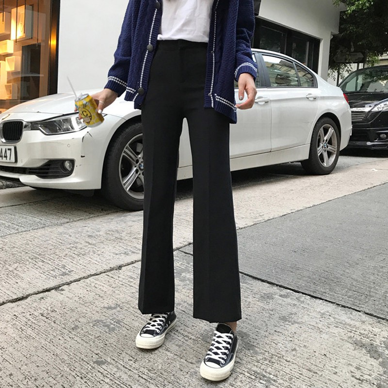 Spring women's high waist black thick small trousers was thin nine pants casual