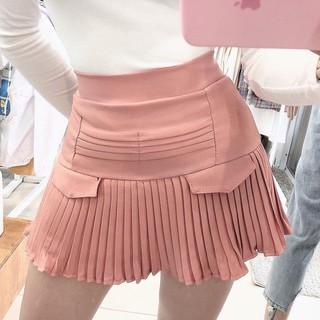 126B1 Chân váy ngắn dập ly giả túi siêu kute style Hàn Quốc mới, vải tuyết mưa co dãn dưới 55kg