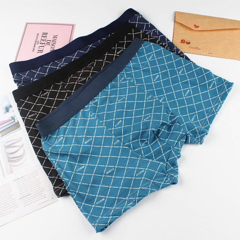 Quần Lót Boxer Vải Cotton Lưng Vừa In Họa Tiết Hợp Thời Trang Cho Nam