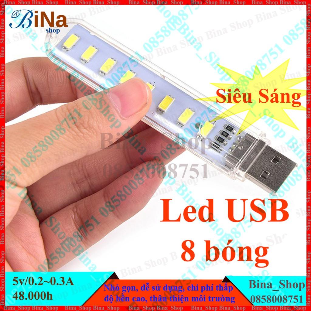 Đèn Led USB 8 bóng trong suốt Trắng ấm / Vàng ấm