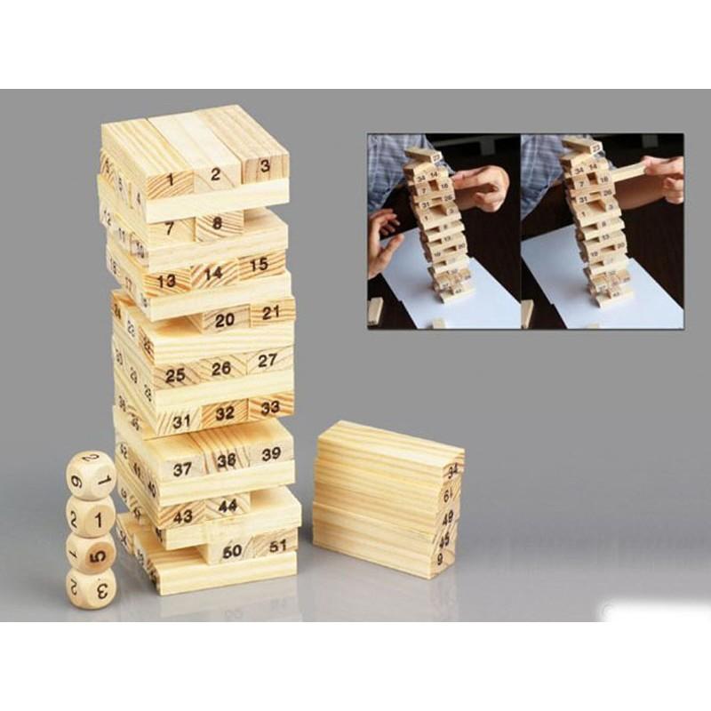 Trò chơi rút gỗ 54 thanh kèm 4 xúc xắc