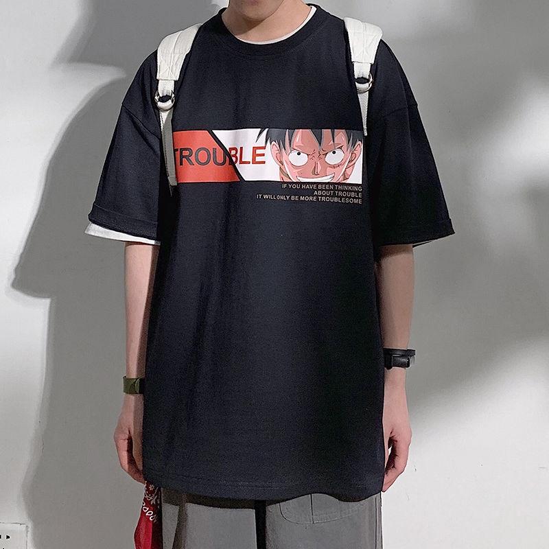 Áo thun tay ngắn họa tiết hoạt hình thời trang phong cách Hàn Quốc cho nam