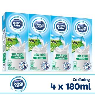 Hình ảnh Lốc sữa tươi tiệt trùng Dutch Lady Fresh có đường 4x180ml-0