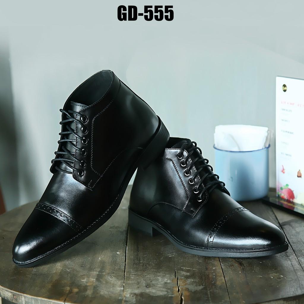 Giày da thật tăng chiều cao SMARTMEN GD-555 (Đen)