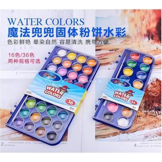 Sơn màu nước rắn Màu sơn bột màu 16 màu / 36 màu Màu nước không thể rửa Bắt đầu