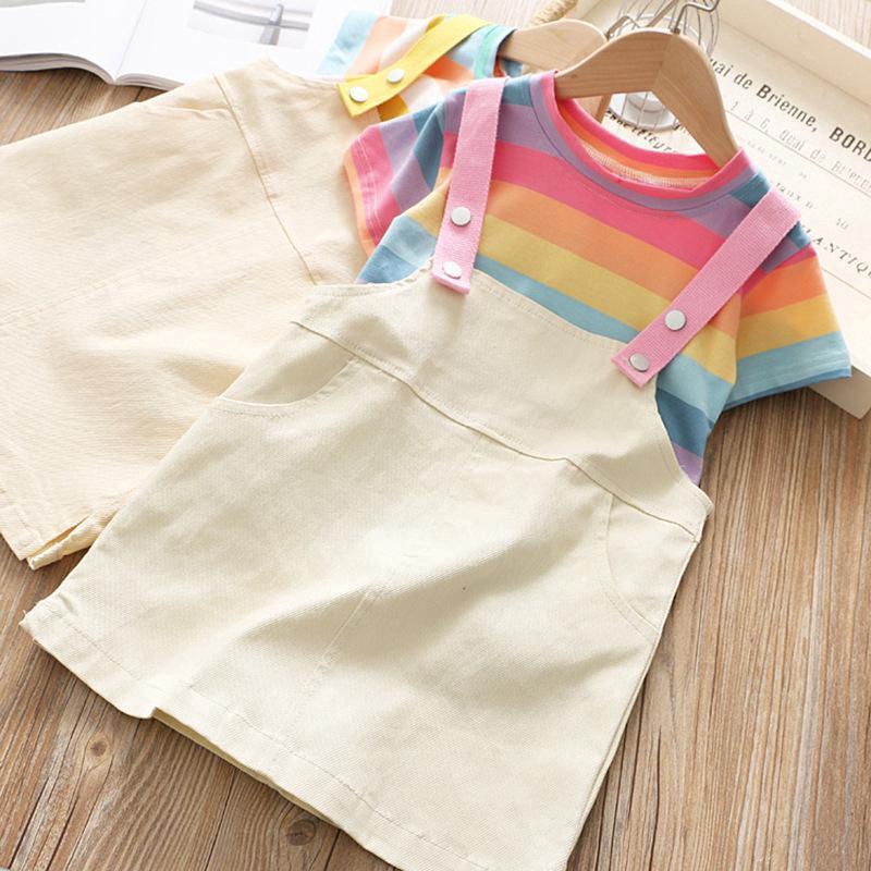 Set áo thun ngắn tay kẻ sọc cầu vồng + chân váy yếm denim thời trang cho bé gái