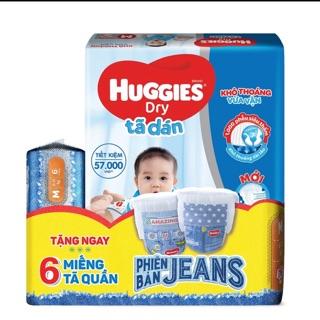 [Tặng 6 miếng tã quần Jeans phong cách] Tã dán Huggies Dry Super Jumbo M76
