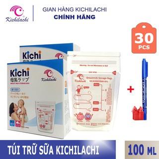 Túi trữ sữa Kichilachi 100ml, 2 khóa ziper(Hộp 30 túi,Tặng 1 bút/ đơn hàng)