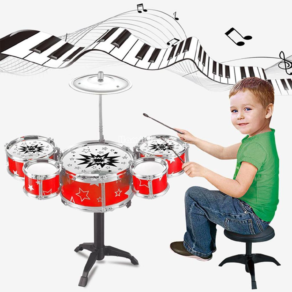 ❤COD Kids Toy Jazz Drum Kit Musical Instrument Toy Early Educational Toy