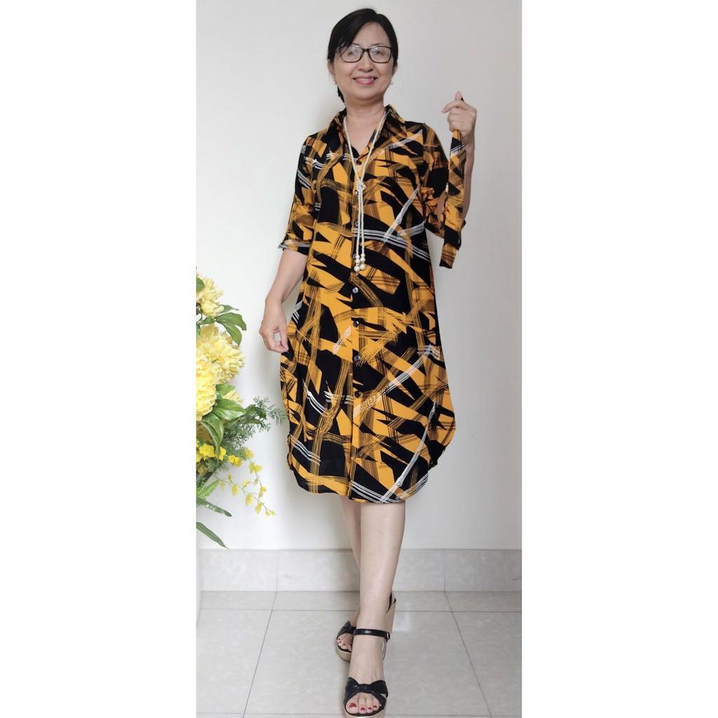 (TẶNG DÂY CHUYỀN) Đầm Sơ Mi Trung Niên - Đủ Size (48kg - 85kg)
